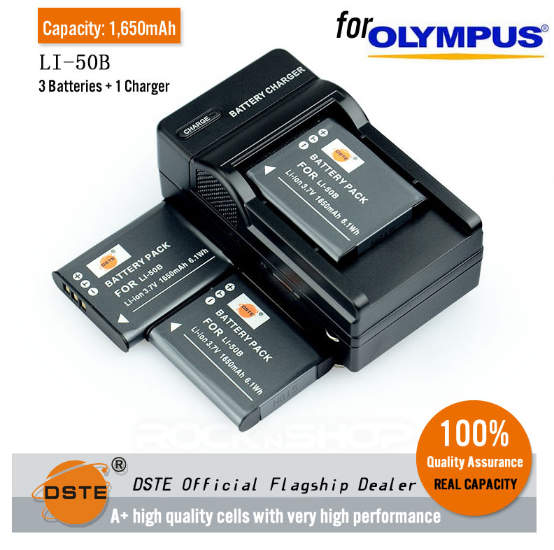 DSTE Li-50B 1650mAh Battery and Charger for Olympus SZ10 SZ20 XZ-1