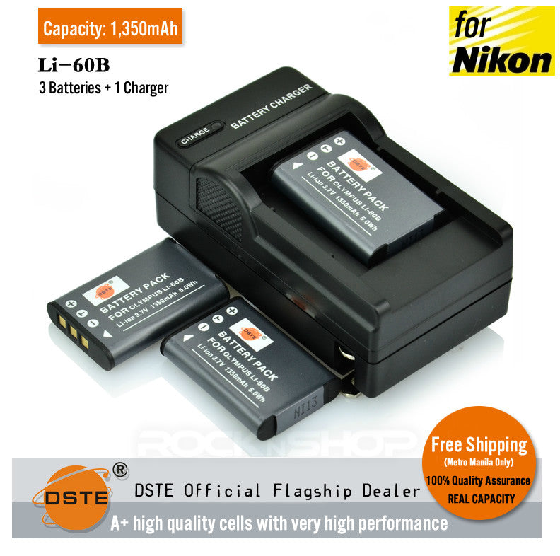 DSTE LI-60B EN-EL11 2,000mAh Battery and Charger For Nikon Olympus S550 S560