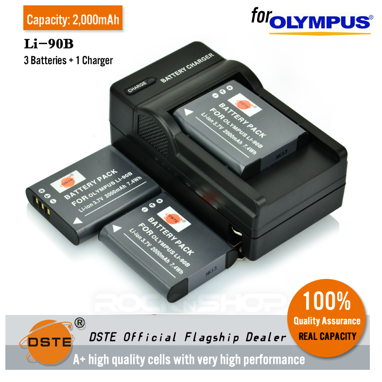 DSTE Li-90b 2000mAh Battery and Charger for Olympus TG-1 TG-2 iHS