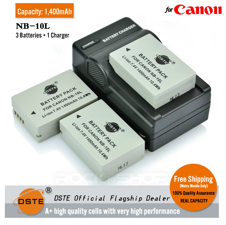 DSTE NB-10L 1400mAh Battery and Charger for Canon G1X G15 SX40 G1X G16