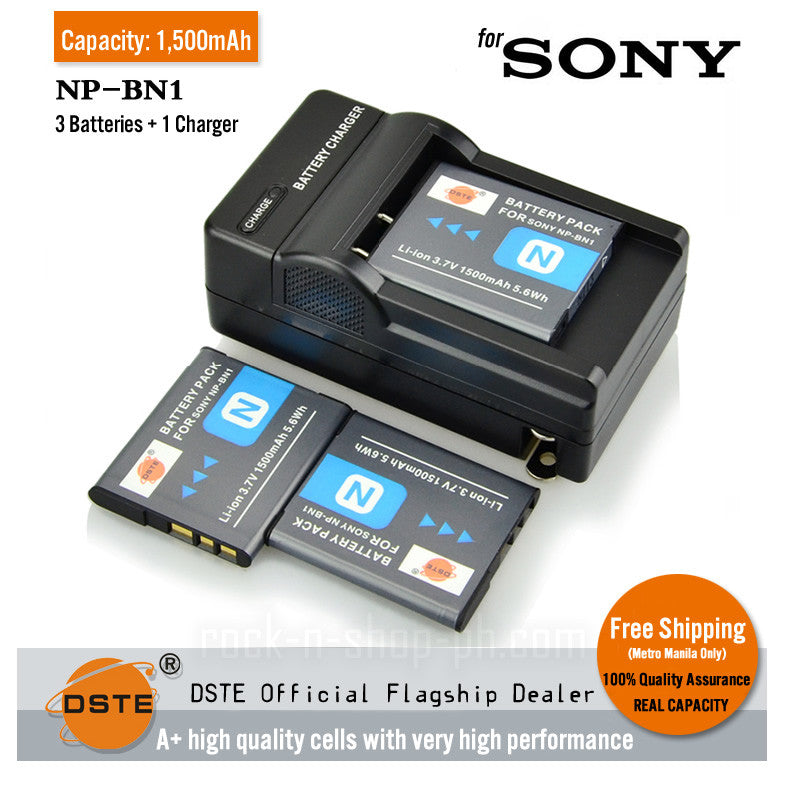 DSTE NP-BN1 1,500mAh Battery and Charger for Sony W310 W810 W350 WX220 W320