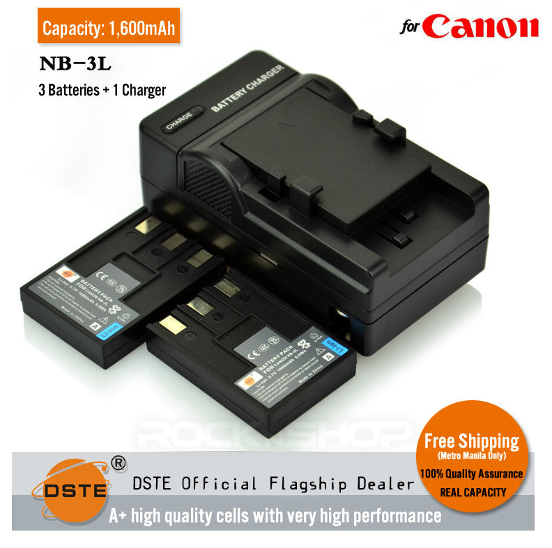 DSTE NB-3L 1600mAh Battery and Charger for Canon IXUS 750 SD20 700 PC1060