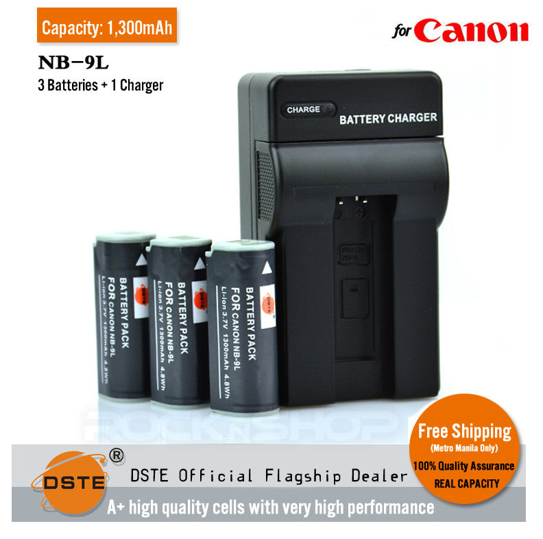 DSTE NB-9L 1,300mAh Battery and Charger for Canon IXY50S SD4500 1100 500 510hs