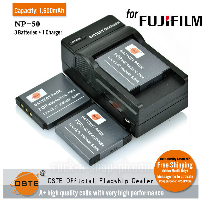 DSTE NP-50 1600mAh Battery and Charger for Fujifilm X20 XP100 XP150