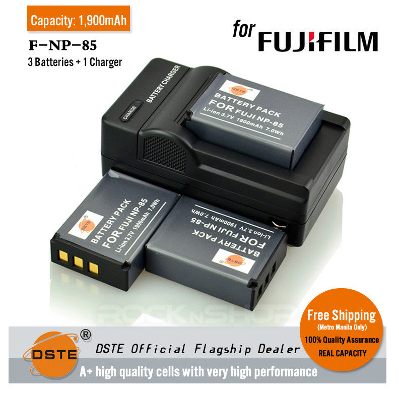 DSTE NP-85 1,900mAh Battery and Charger For Fujifilm SL1000 SL305 CB170 HDV-Z60