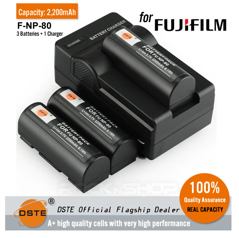DSTE NP-80 2200mAh Battery and Charger for Fujifilm 4900 4900Z 6800