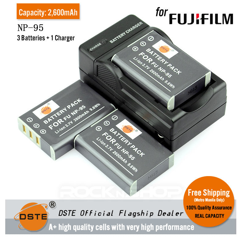 DSTE NP-95 2600mAh Battery or Charger for Fujifilm X100S X100 F30 FD 3DW1
