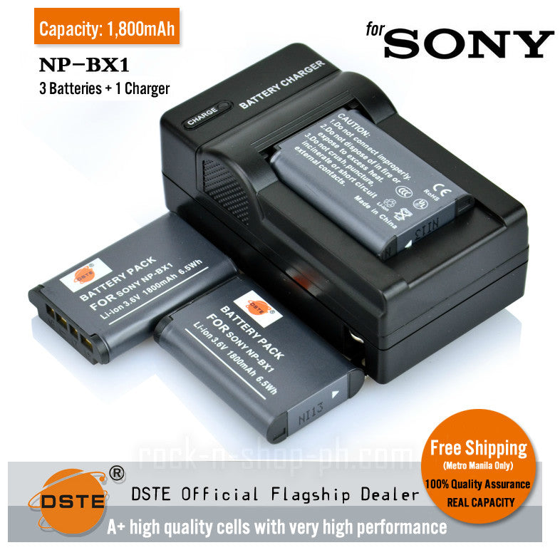 DSTE NP-BX1 NPBX1 1800mAh Battery and Charger For Sony DSC-RX100, HX300, DSC-RX1