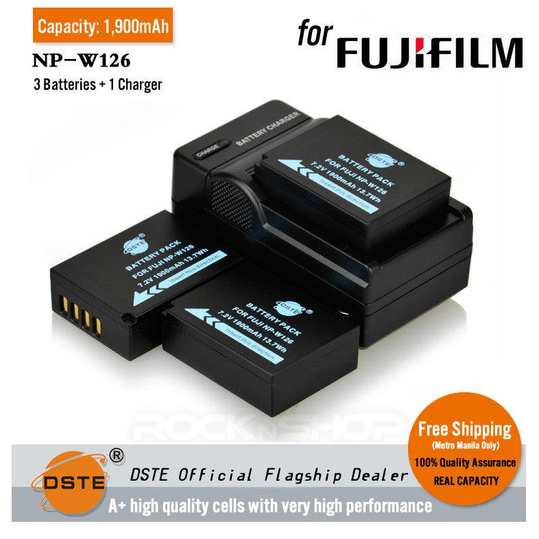 DSTE NP-W126 1900mAh Battery and Charger For Fujifilm X-Pro1 XM1 X-E1 HS33EXR HS30EXR