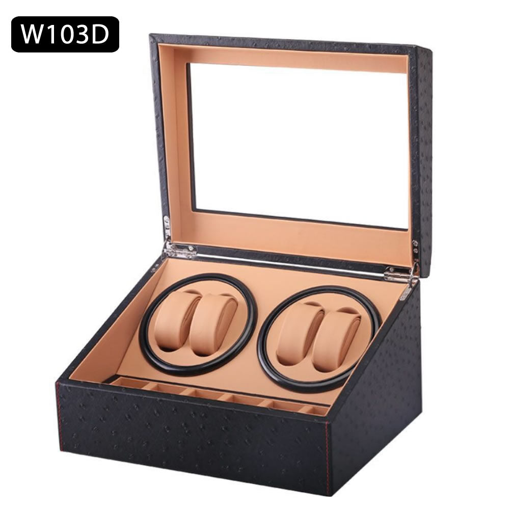 TAIYU Double Head 4 Slots Ostrich Grain Watch Winder Display Box