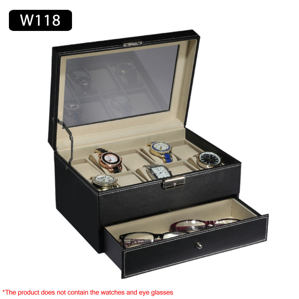 2 Layer 10 Slots Watch + Jewelry Sunglasses Storage Box