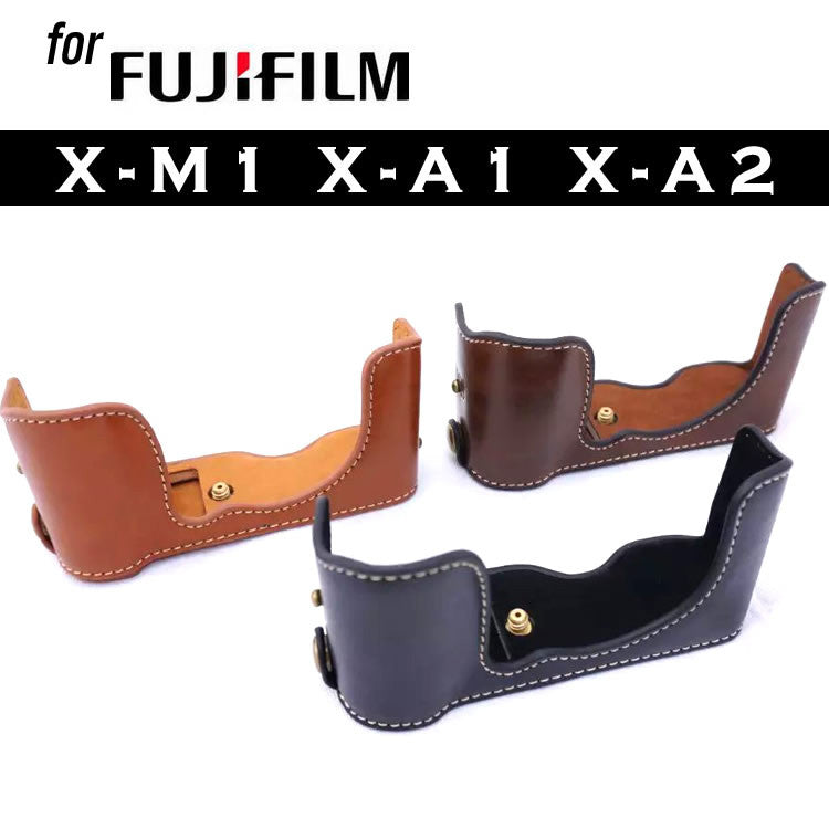 Leather Half Case for FujiFilm X-M1 X-A1 X-A2 (version 1)