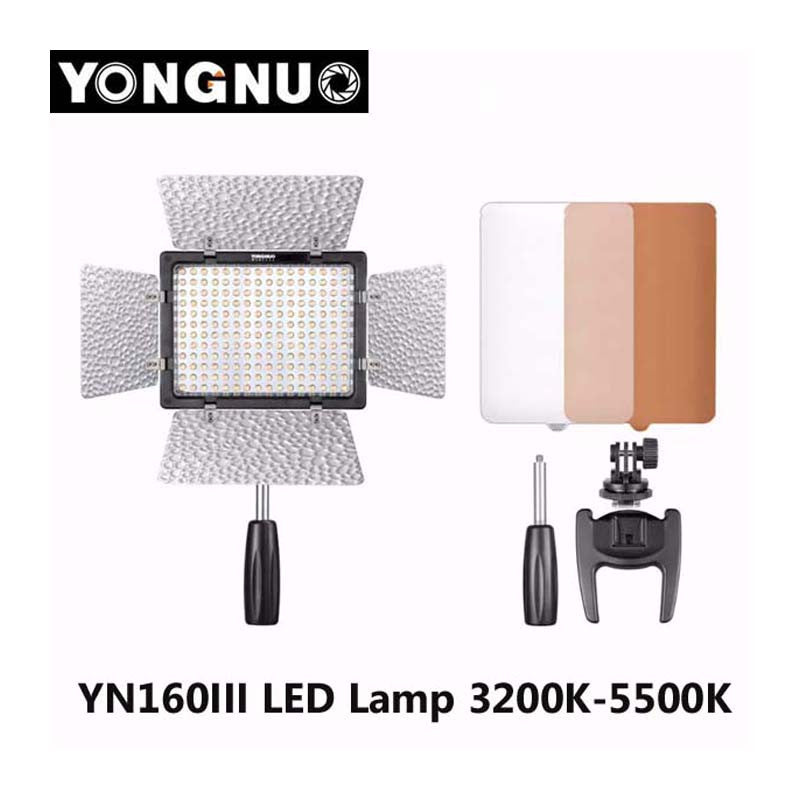 Yongnuo YN160 III 3200-5500K CRI95 160 LED Video Light for Canon Nikon Sony DSLR Camcorder