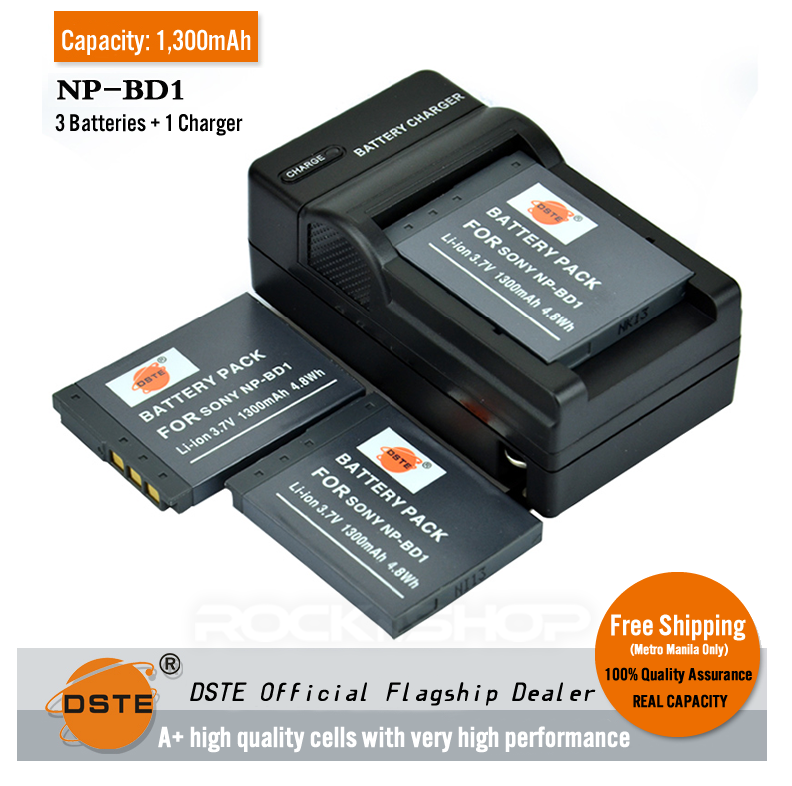 DSTE NP-BD1 1300mAh Battery and Charger for Sony TX1 T70