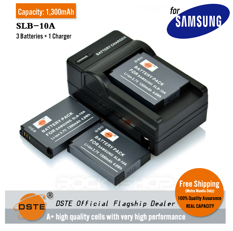 DSTE SLB-10A 1,300mAh Battery and Charger For Samsung M310W PL51 PL55 L110 BenQ G1