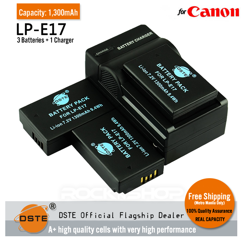 DSTE LP-E17 1,300mAh Battery and Charger for Canon EOS M3 750D 760D T6i T6s 8000D Kiss X8i