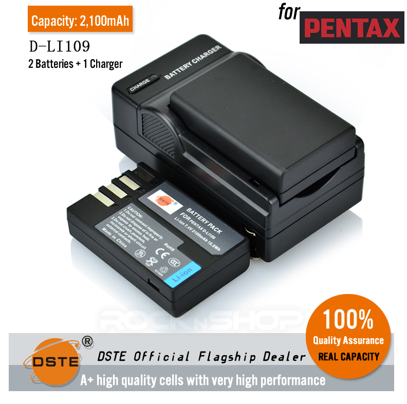 DSTE D-LI109 2100mAh Battery and Charger for Pentax KR K30 D-LI109 K-50 K500