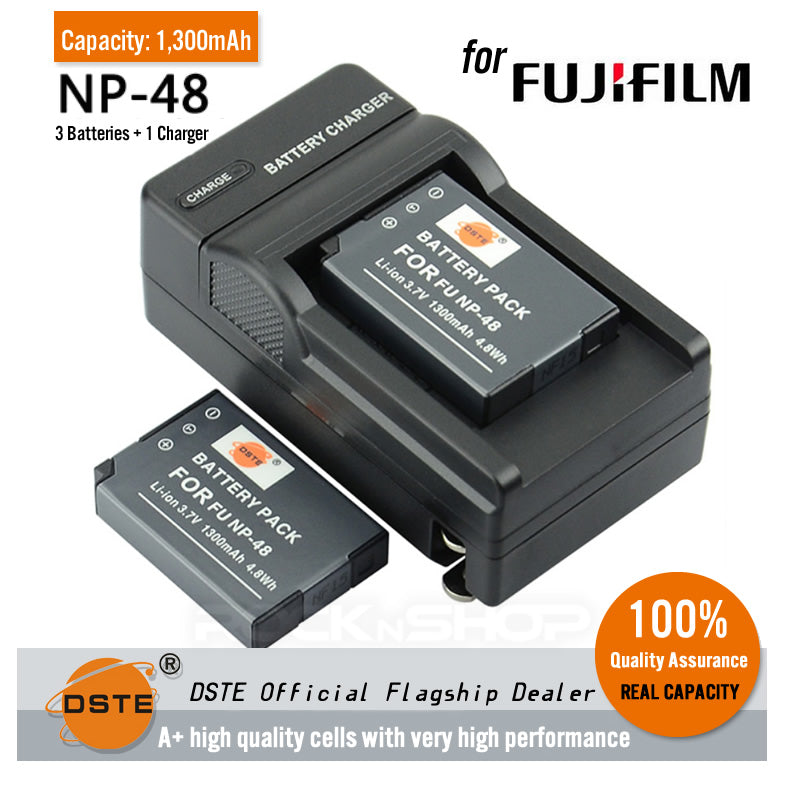 DSTE NP-48 1300mAh Battery and Charger for Fujifilm XQ1 XQ2