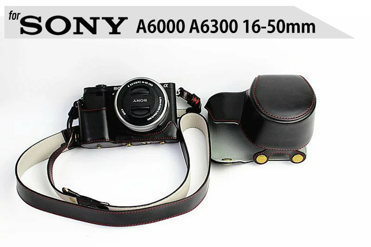 Leather Case Holster for Sony A6300 A6000 16-50mm