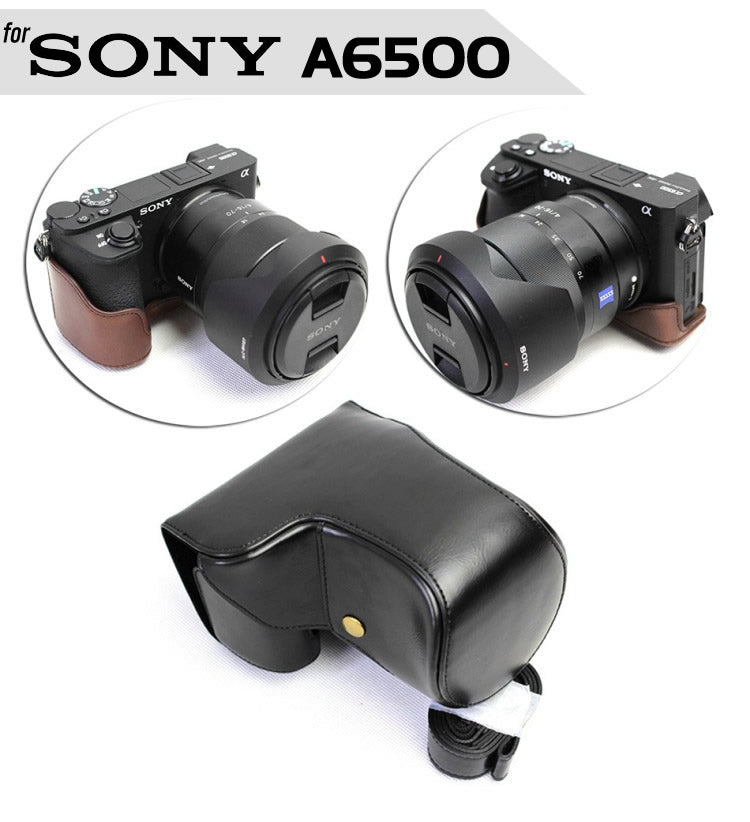 Leather Case Holster for Sony A6500 16-70mm or 18-55mm