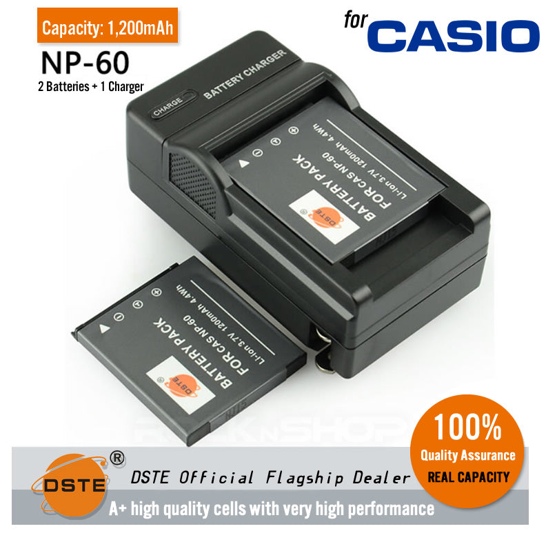 DSTE NP-60 1200mAh Battery and Charger for Casio Exilim EX-S10 EX-S10BE EX-Z80 EX-Z9SR Exilim Zoom EX-Z19