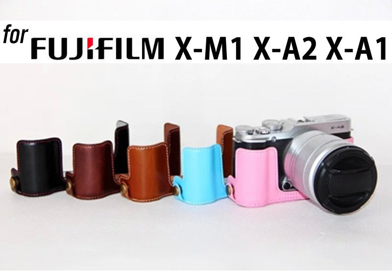 Leather Half Case for Fujifilm X-M1 X-A1 X-A2 (version 2)