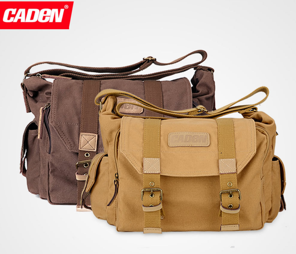Caden F1 Shoulder Vintage Canvas DSLR Camera Bag for Nikon Canon Sony