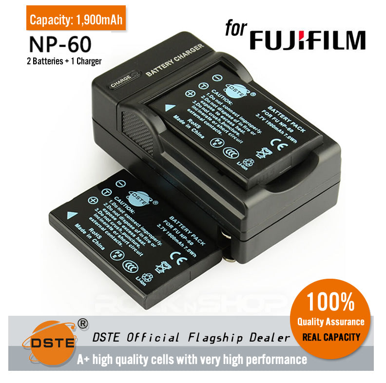 DSTE NP-60 1900mAh Battery and Charger for Fujifilm FinePix F401 F410 F603