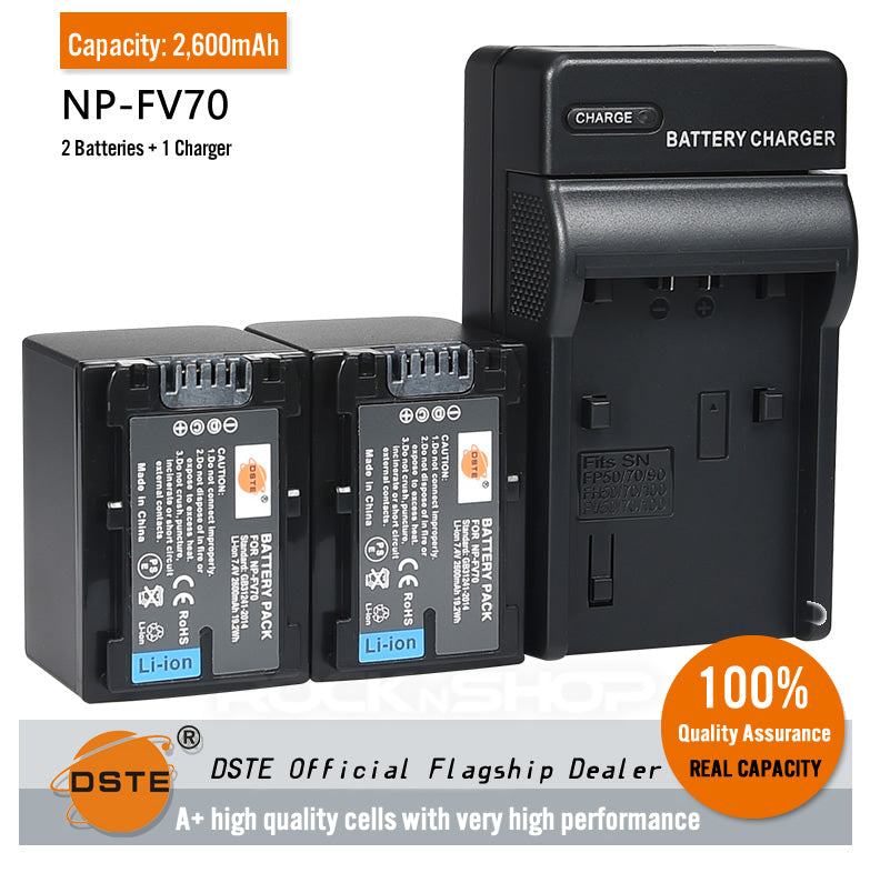 DSTE Replacement NP-FV70 Battery or Charger for Sony HDR-XR350E XR550E XR260E XR150E XR160E PJ200E