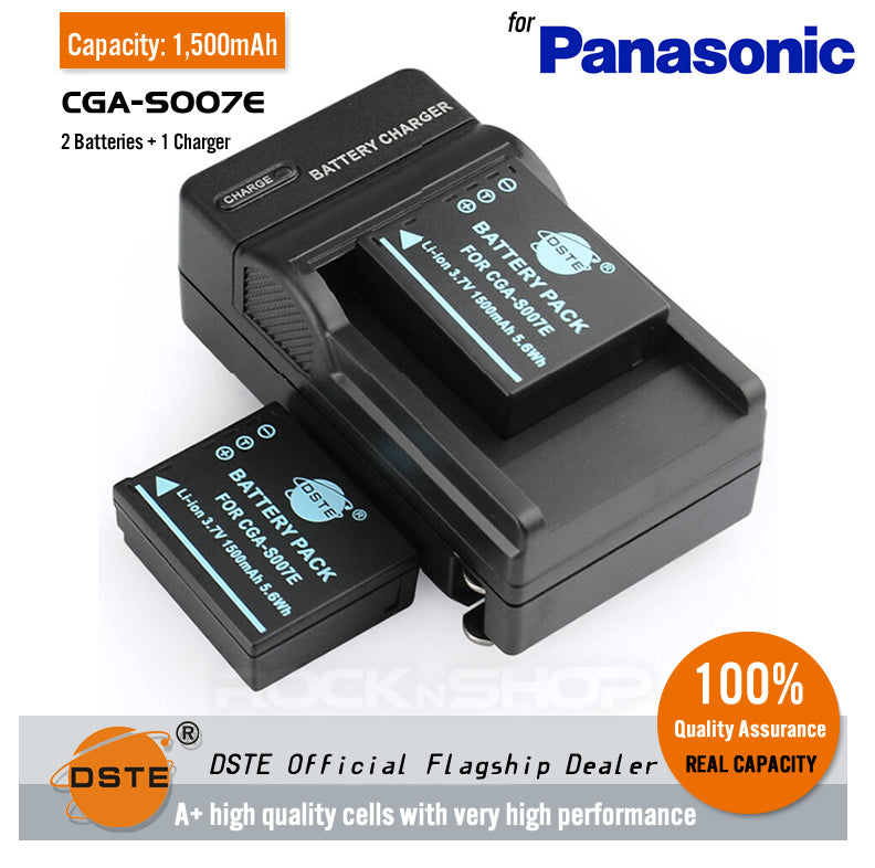 DSTE CGA-S007E DMW-BCD10 1500mAh Battery and Charger for Panasonic TZ1/TZ3