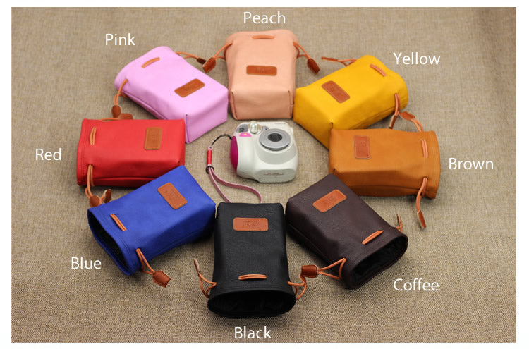 Medium Size Leather Easy Pocket Camera Pouch for SLR Instax Camera