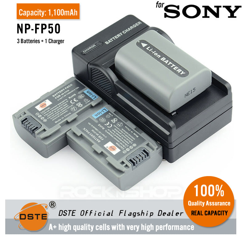 DSTE NP-FP50 1,100mAh Battery and Charger For Sony DCR-HC 35E 36 39E 40 41 42 43E 46 65 85 94E 96