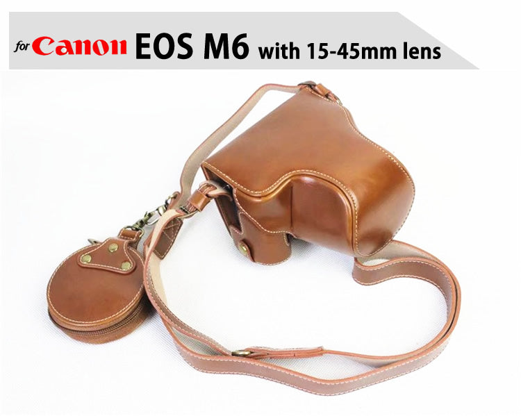 Leather Case Holster for Canon EOS M6 with 15-45mm Lens with battery opening