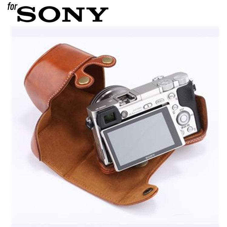 Leather Case for Sony A6500 A6300 A6000 with 16-50mm Lens