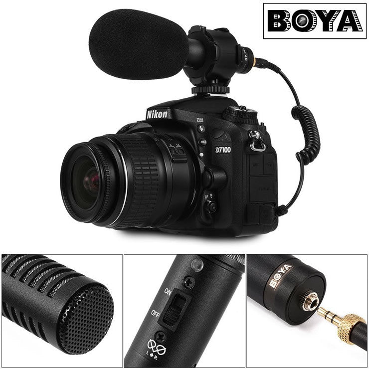 BOYA BY-PVM50 Stereo Condenser Microphone w/ Shock Mount for DSLR Camera