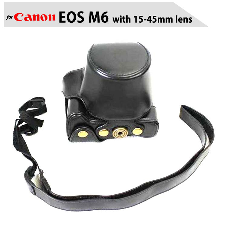 Leather Case Holster for Canon EOS M6 with 15-45mm Lens