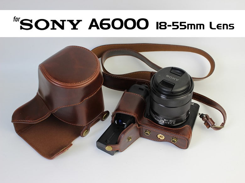 Leather Case Holster for Sony A6300 A6000 with 18-55mm Lens
