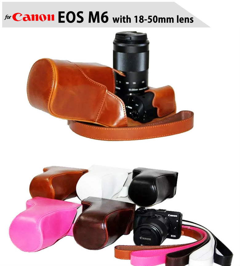 Leather Case Holster for Canon EOS M6 with 18-50mm Lens