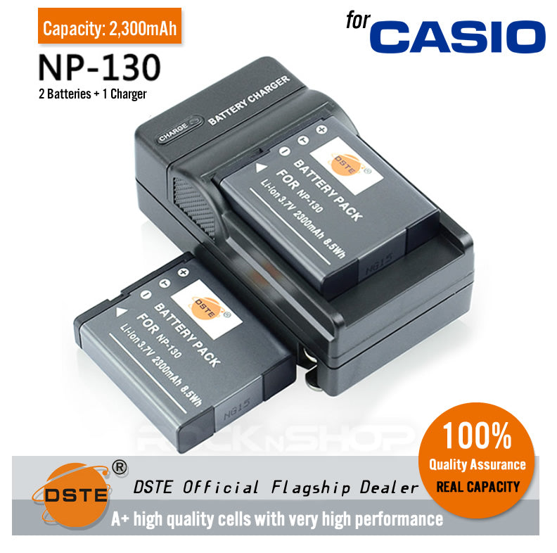 DSTE NP-130 2300mAh Battery and Charger for Casio EX-H35 H30 ZR300 ZR1200 ZR3700