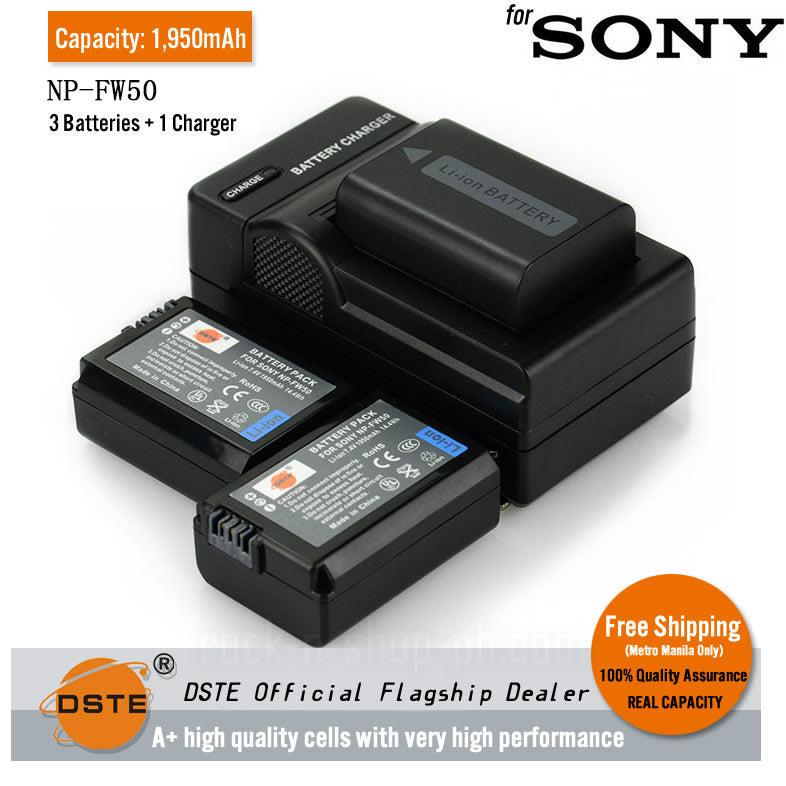 DSTE NP-FW50 1950mAh Battery and Charger for Sony A3000 NEX3C A55 NEX7 5R 5N