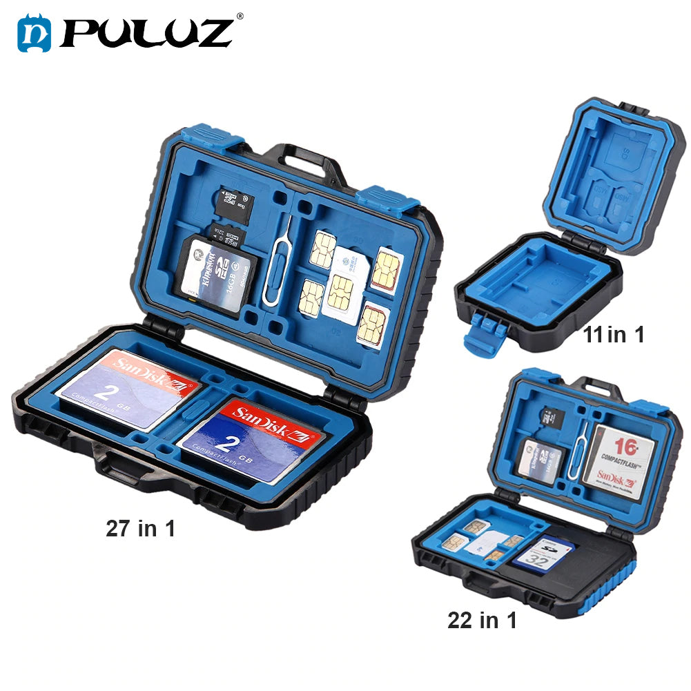 PULUZ Anti-shock Waterproof SD TF Memory Card SIM Case Holder