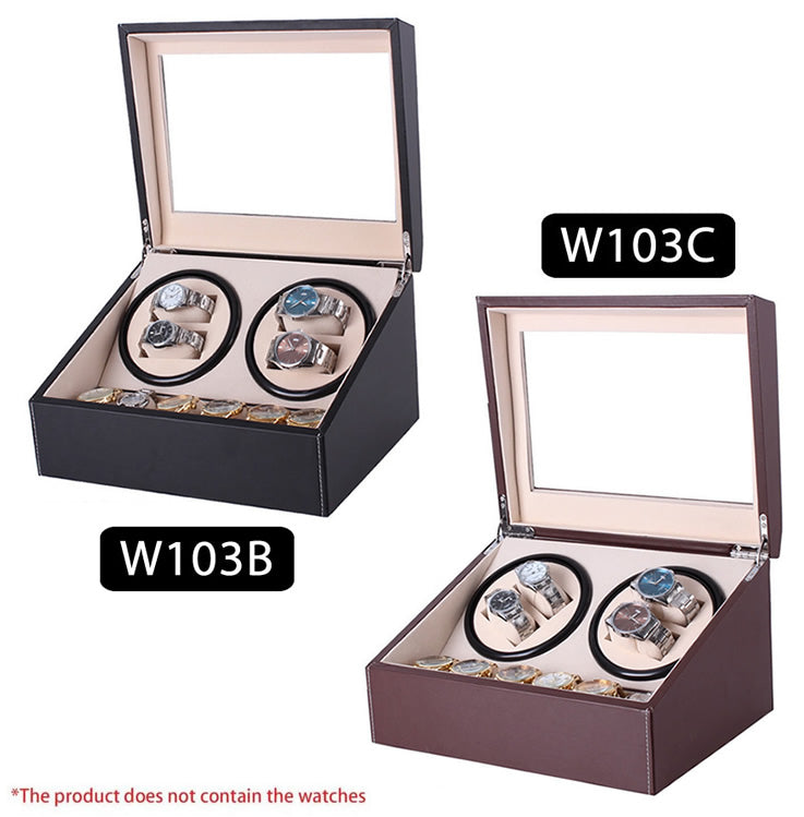 TAIYU Double Head 4 Slots PU Leather Watch Winder Display Box