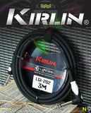 KIRLIN LGI-202 LightGear Straight to Right Angle Guitar Cable with PVC Jacket