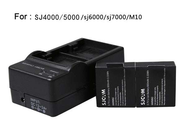 SJ4000 Battery(2-Pack)+Dual Charger for SJCAM SJ5000 SJ6000 action HD sport camera 3.7V 900mAh