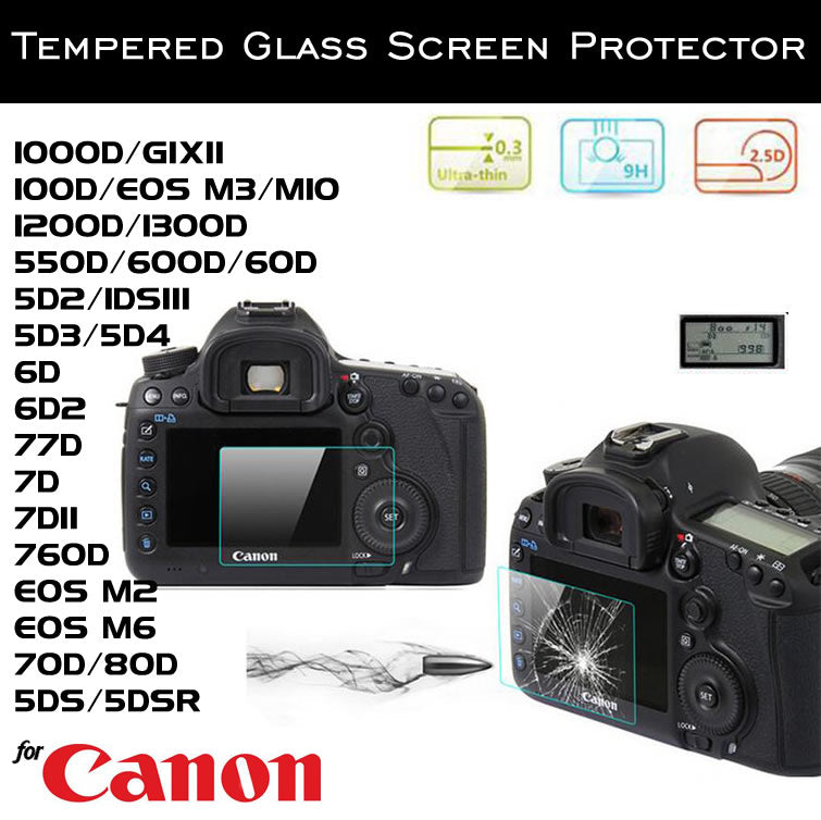 Tempered Glass Screen Protector for Canon 7D EOS M3 5D3 6D2