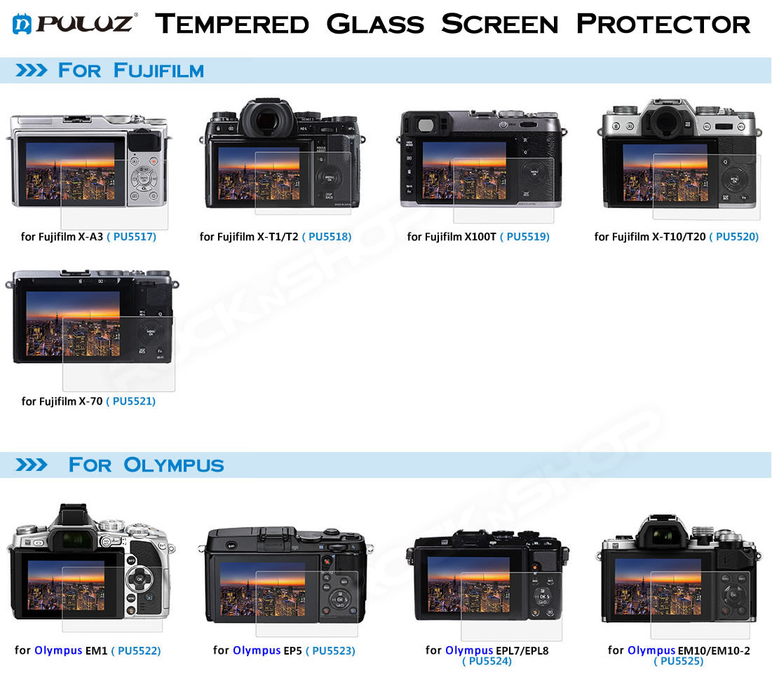 PULUZ Tempered Glass Screen Protector for Fujifilm Olympus