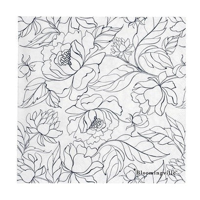 BLACK AND WHITE FLORAL PRINT NAPKIN
