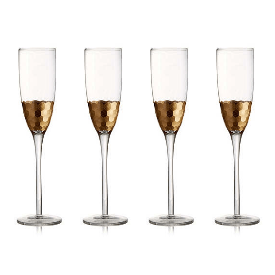 Gold Champagne Flutes (set of 4)