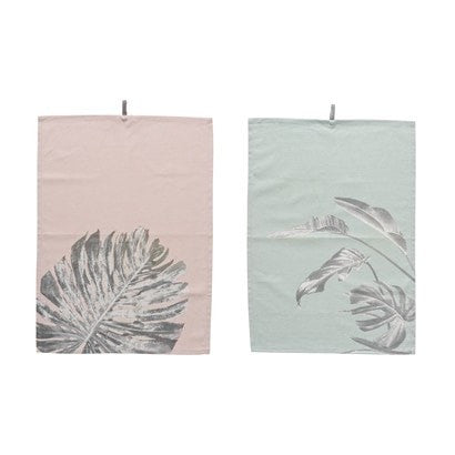 LEAF PRINT TEA TOWELS, SET OF 2