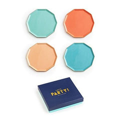 LET'S PARTY DECAGON PLATES SET OF 4